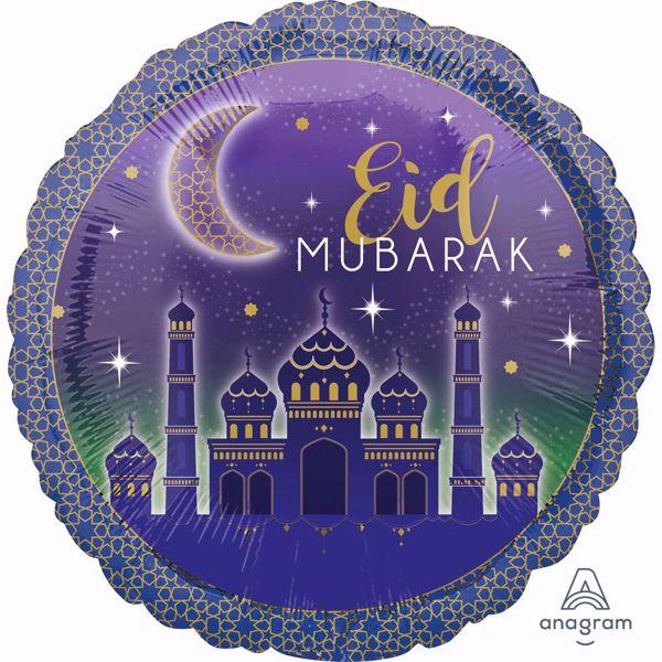 Bild von Folienballon Eid Mubarak Ramadan Blau Gold