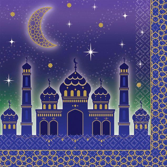 Bild von Servietten Eid Mubarak Ramadan Blau Gold 33cm x 33 cm