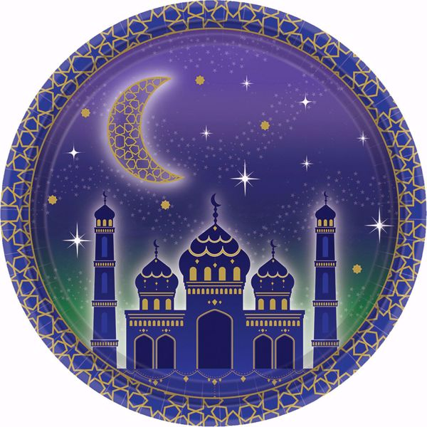 Bild von Partyteller Eid Mubarak Ramadan Blau Gold 18 cm