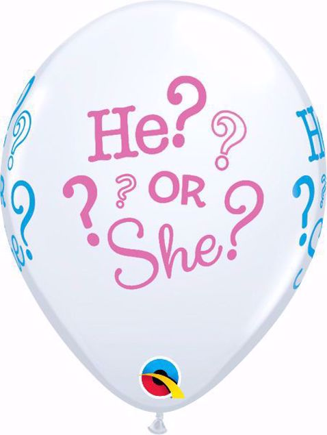 Picture of Latexballon Weiß He or She Babyshower 11 inch