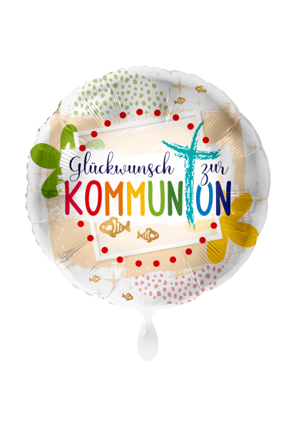 Bild von Kommunion Glückwunsch Kreuz rund Folienballon 45 cm