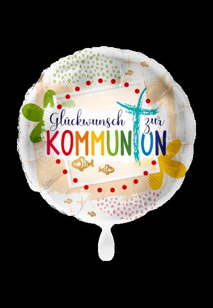 Bild von Kommunion Glückwunsch Kreuz rund Folienballon 70 cm