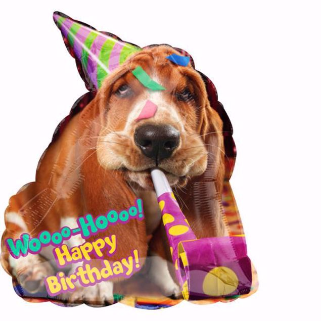 Bild von Folienballon Woho Happy Birthday Hund