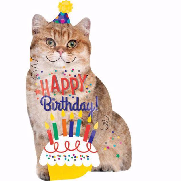 Bild von Folienballon Happy Birthday Katze