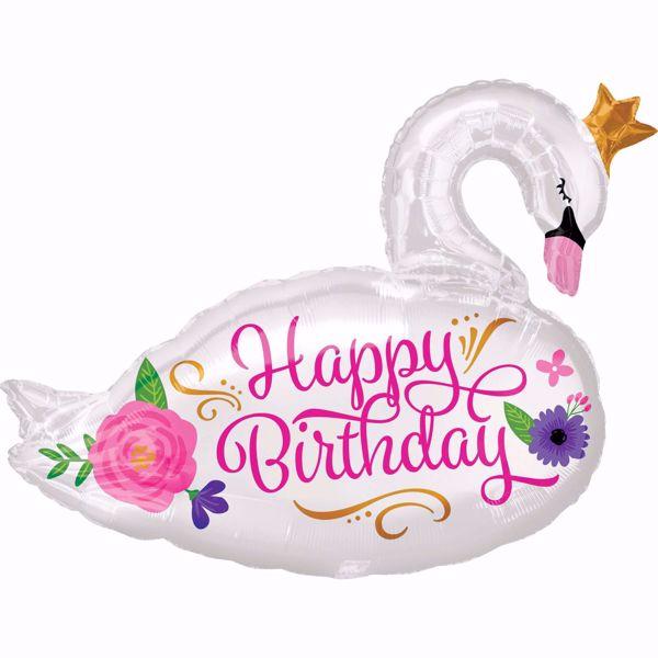 Picture of Folienballon Supershape Happy Birthday Schwan