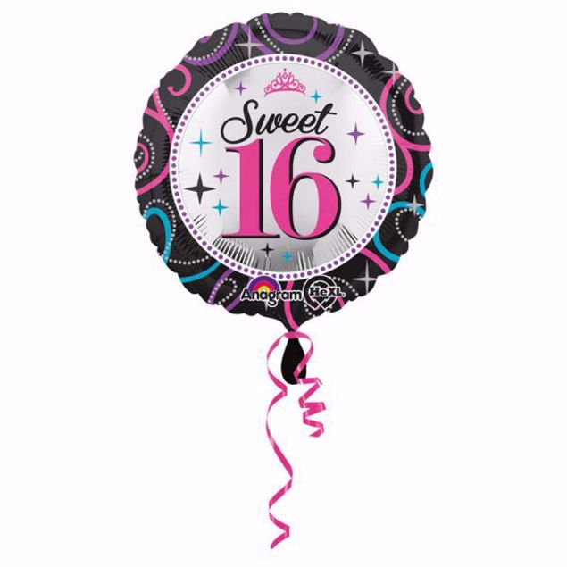 """Bild von Folienballon Super Sweet 16 Glitzer 18"""""""