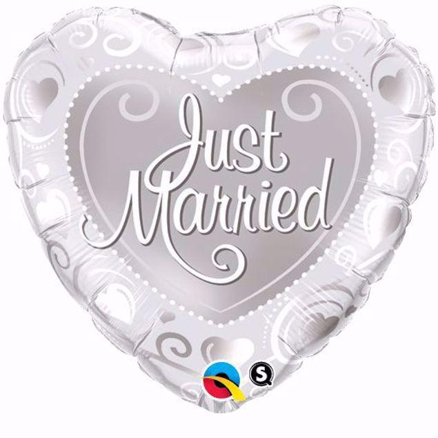 Bild von Folienballon Hochzeit Herz Qualatex 18 inch Just Married