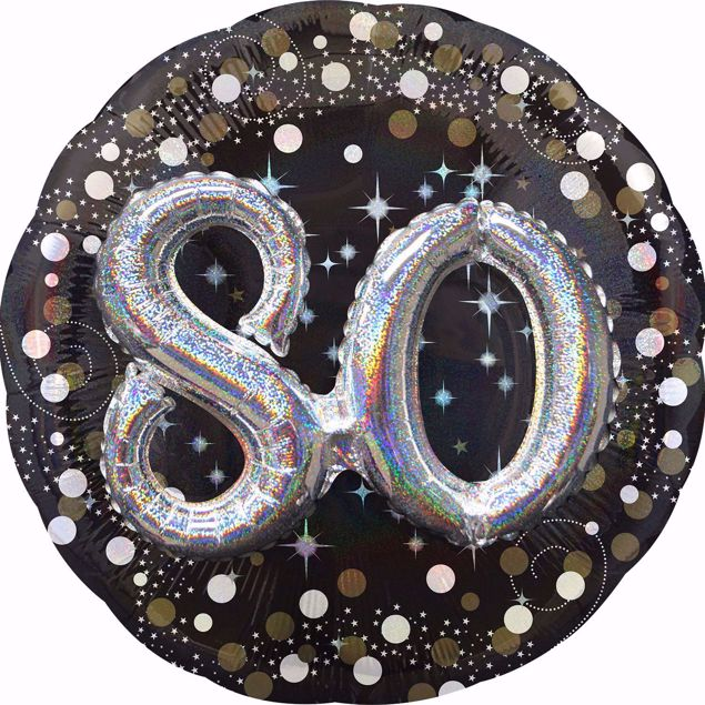 Picture of Folienballon Multi-Balloon Sparkling Birthday 80