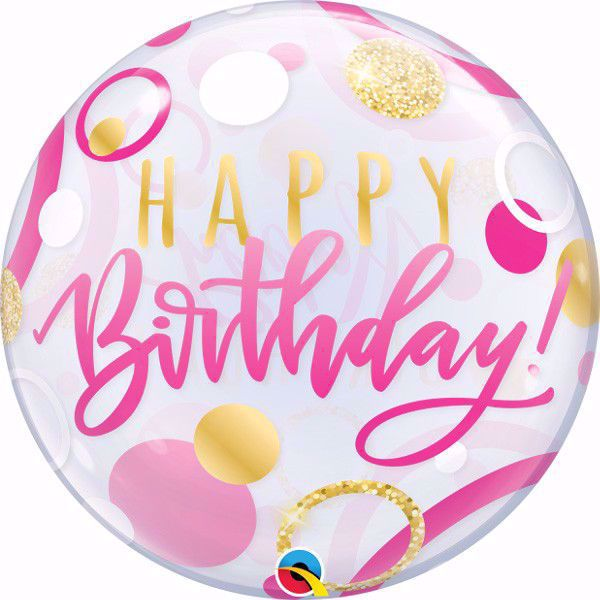 """Picture of 22"""" SINGLE BUBBLE BIRTHDAY PINK & GOLD DOTS"""