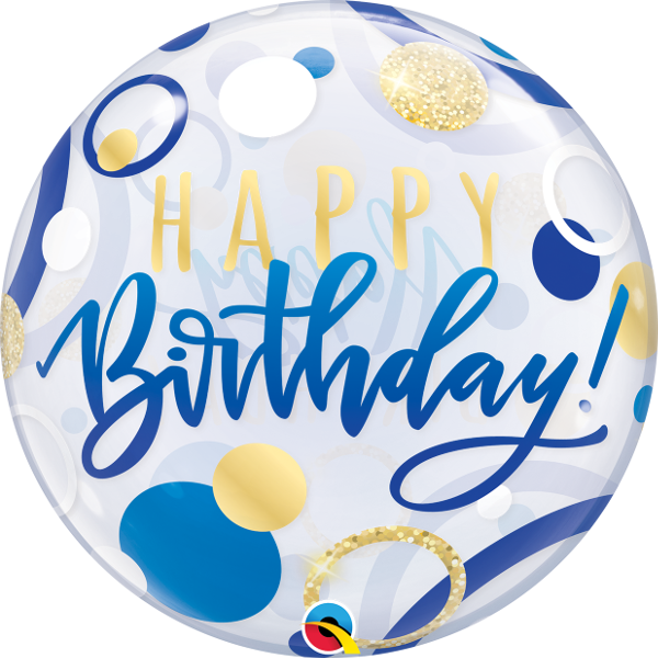 Bild von SINGLE BUBBLE BIRTHDAY BLUE + GOLD DOTS