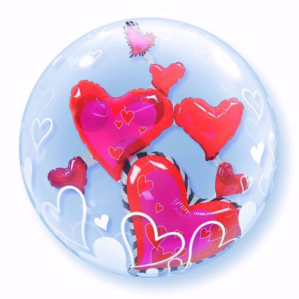 """Picture of 24"""" DOUBLE BUBBLE LOVLEY FLOATING HEART"""