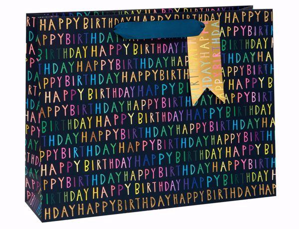 Picture of Happy Birthday auf blau Bag large