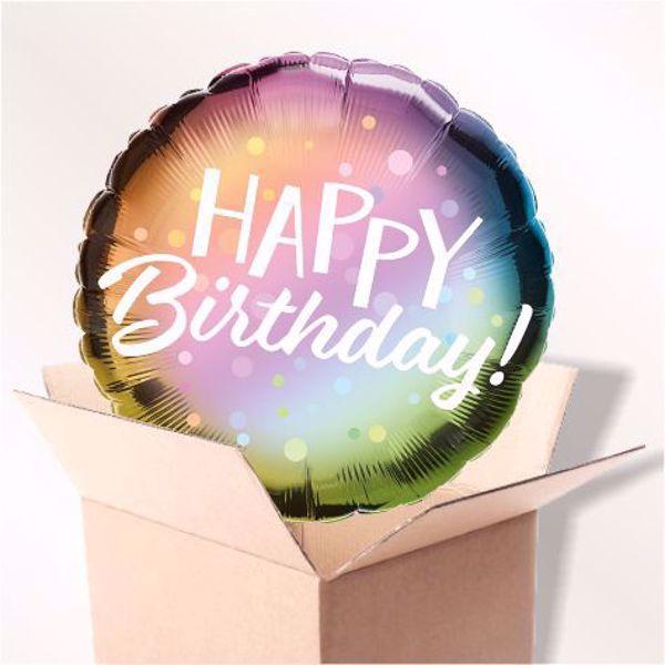 Picture of Folienballon Happy Birthday pastell im Karton