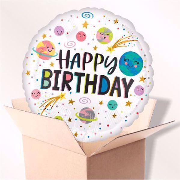 Picture of Folienballon Happy birthday Galaxie im karton