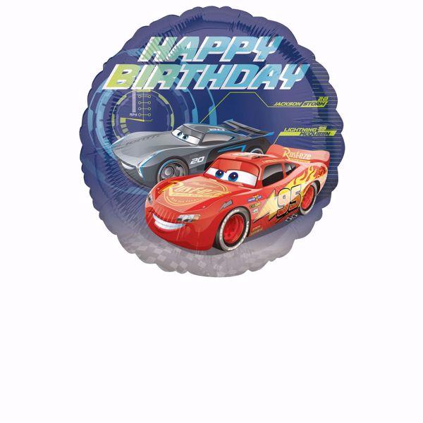 Picture of Cars - Happy Birthday Folienballon rund