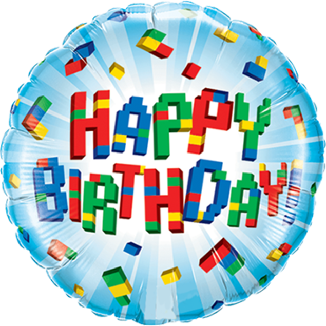 Picture of Folienballon Happy Birthday explodierende Blöcke