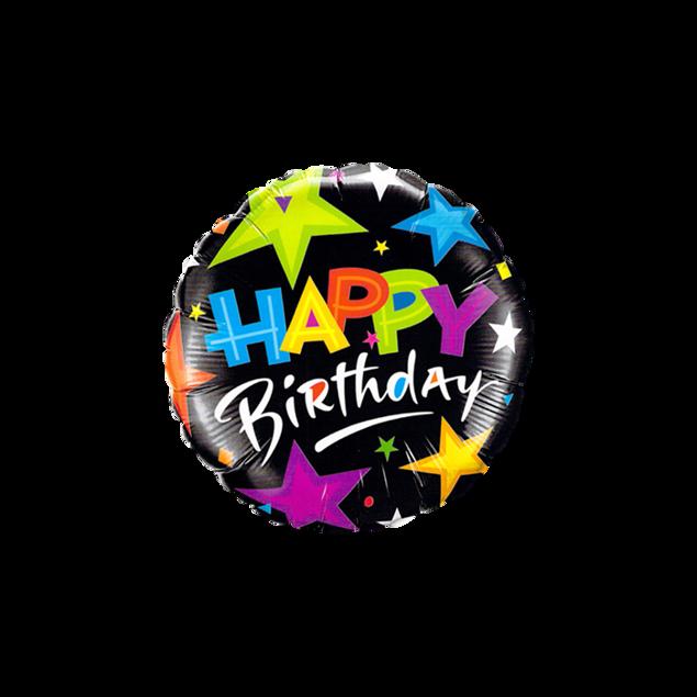 Picture of Folienballon Happy Birthday Sterne schwarz
