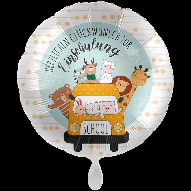 Bild von Folienballon XXL Schulbus glückliche Tiere