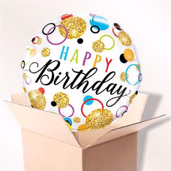 Picture of Folienballon Happy Birthday Golden glitter dots im Karton