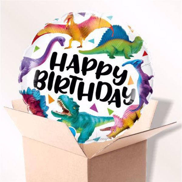 Picture of Folienballon Birthday Colorful Dinosaurs im Karton