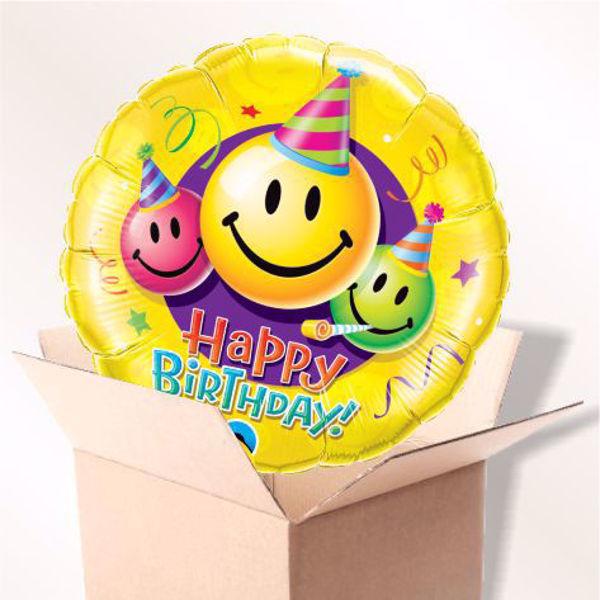 Bild von Folienballon Happy Birthday Party-Smiley im Karton