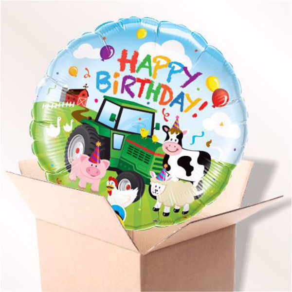 Bild von Folienballon Happy Birthday Farm im Karton