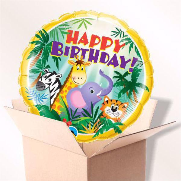 Bild von Folienballon Happy Birthday Dschungel im Karton