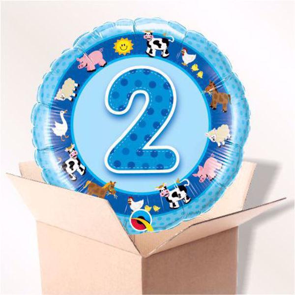 Bild von Folienballon Alter 2 blau im Karton