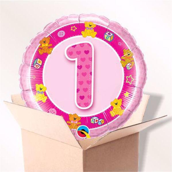 Picture of Folienballon Alter 1 rosa im Karton