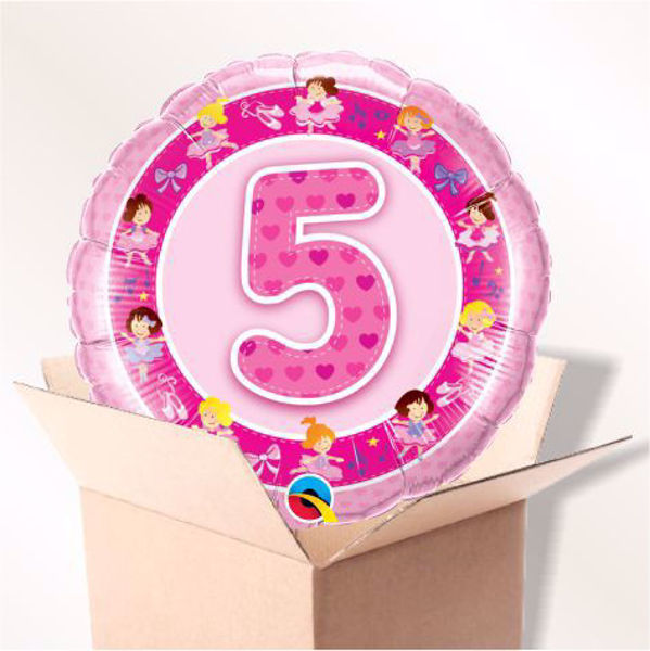 Picture of Folienballon Alter 5 rosa im Karton