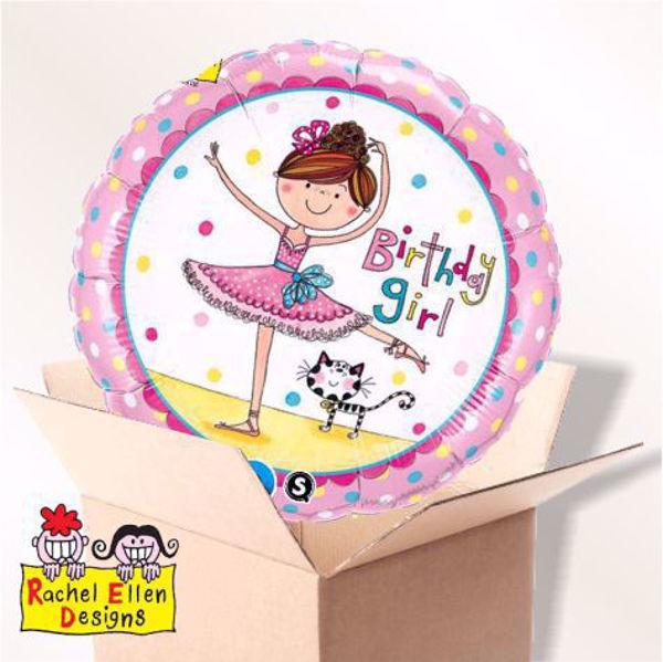Picture of Folienballon Birthday Girl Ballerina im Karton