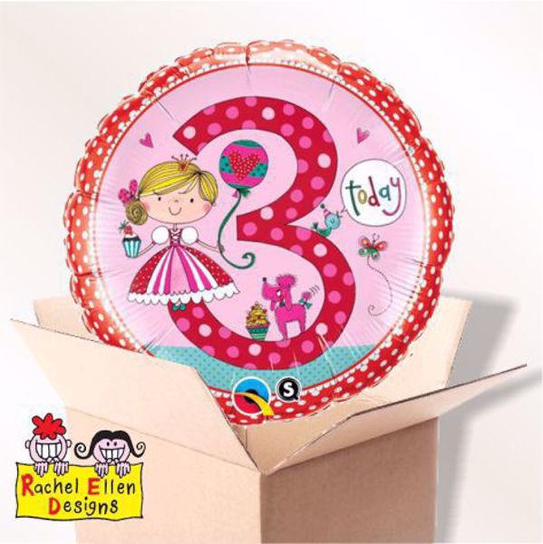 Picture of Folienballon Alter 3 Prinzessin im Karton