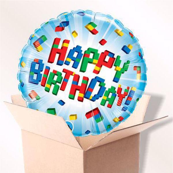 Picture of Folienballon Happy Birthday explodierende Blöcke im Karton