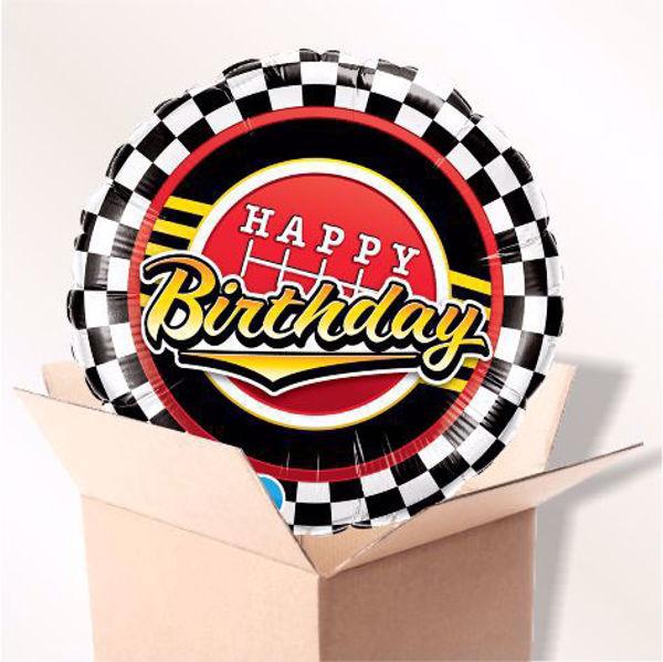 Bild von Folienballon Happy Birthday Scheck Muster im Karton