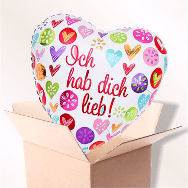 Picture of Folienballon Hab dich lieb Herz im Karton