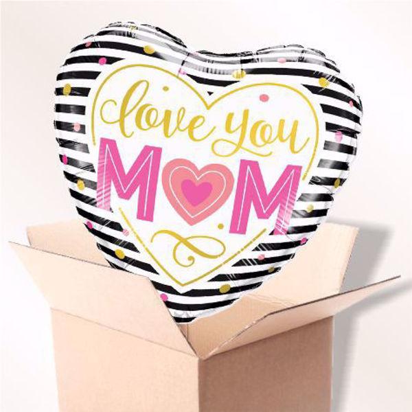 Bild von Folienballon love you mom im karton