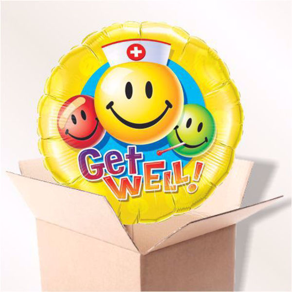 Picture of Folienballon Get well smileys im Karton