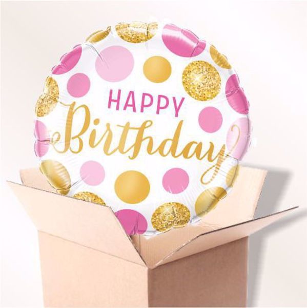 Picture of Folienballon Happy birthday pink & gold dots im Karton