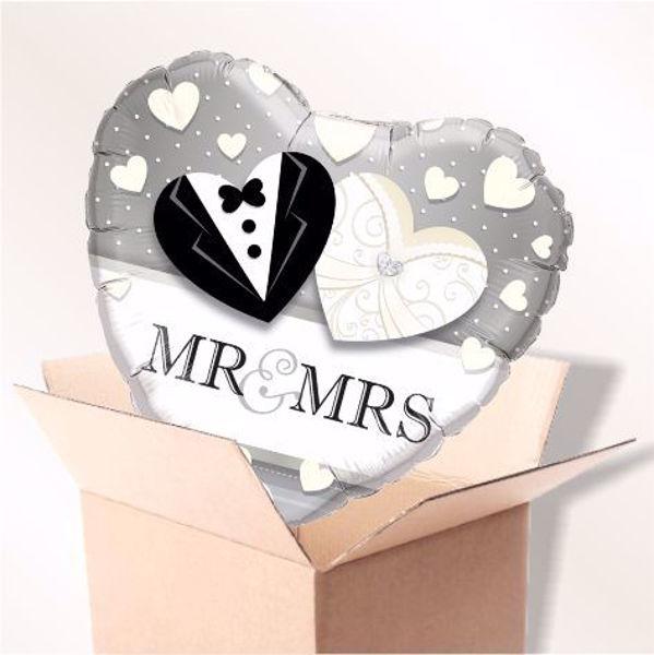Bild von Folienballon Mr. & Mrs. Wedding im Karton