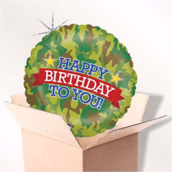 Picture of Folienballon Happy Birthday Camouflage im Karton