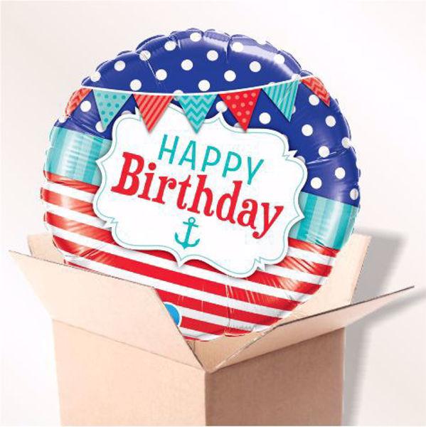 Bild von Folienballon Birthday Nautical & Pennants im Karton