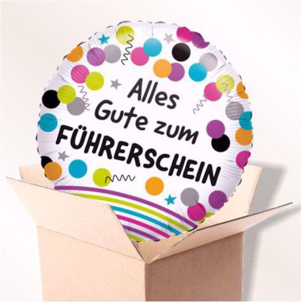 Bild von Folienballon Alles Gute zum Führerschein im Karton