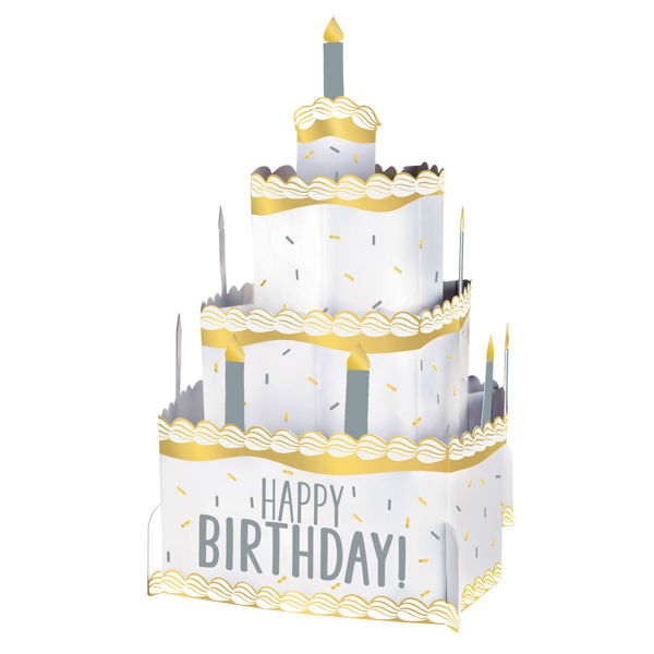 "Picture of Silver & Gold Pop-Up Torte Karton ""Happy Birthday"""