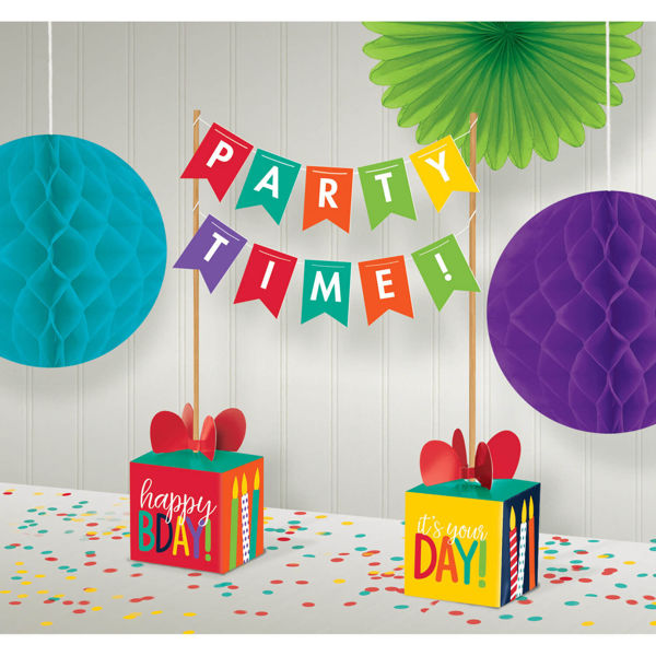"""Picture of Rainbow Banner Karton """"Party Time"""""""