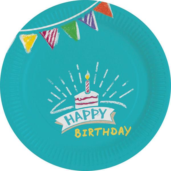 """Picture of 8 Pappteller """"Happy Birthday"""" klein"""