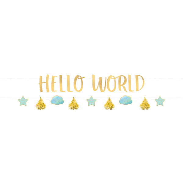 "Bild von Banner Kit Oh Baby Boy ""Hello World"" 2-teilig"
