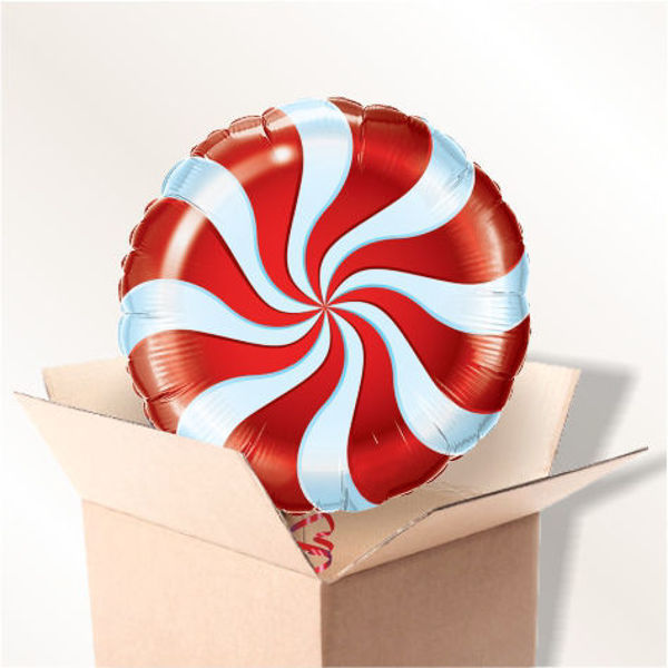 Picture of Folienballon Bonbon Wirbel rot im Karton