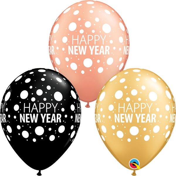 "Picture of Latexballon ""HAPPY NEW YEAR DOTS"" 11 inch"