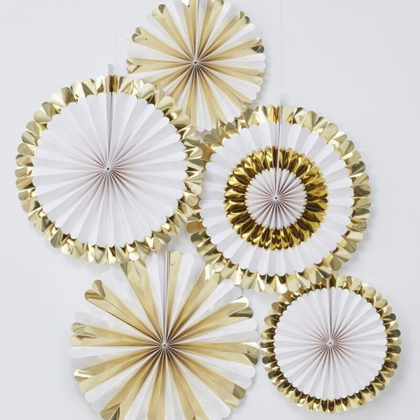 Picture of GOLD FOILED PAPER FAN DECORATIONS