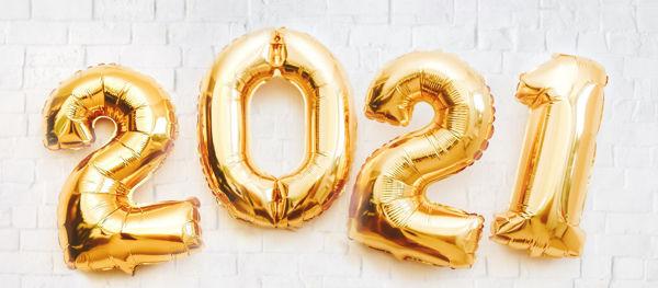 """Picture of Zahlenballons """"2021"""" inkl. Gewichte und Helium"""